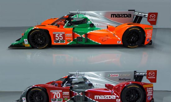 Tristan Nunezu0027s #55 Mazda Prototype Is Painted Green, Orange, And Silver In  Honor Of The Marqueu0027s 1991 Win At Le Mans With The 787B Rotary Prototype.