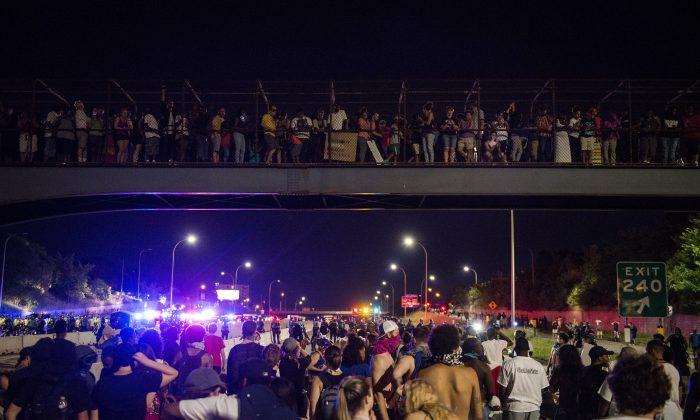 Protestors shut down highway I-94 in St. Paul, Minn., on July 9. (Stephen Maturen/Getty Images)