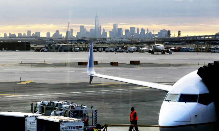 A jet is parked at Newark Liberty International Airport in Newark, N.J. on May 1, 2015. The airport is one of Signature Flight Supports FBOs in the New York metropolitan region. (AP/Julio Cortez)