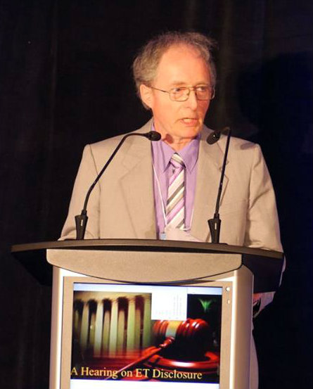 Grant Cameron discusses information that may remain classified related to unidentified aerial phenomena (UAP) at a disclosure hearing in Brantford, Canada, on June 25, 2016. (Courtesy of Zland Communications)