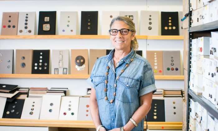 Joan Goodman, owner of Pono jewelry, at her showroom in the Garment District of New York on July 6, 2016. (Benjamin Chasteen/Epoch Times)