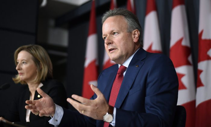 Governor of the Bank of Canada Stephen Poloz discusses the latest interest rate announcement and Monetary Policy Report accompanied by Senior Deputy Governor Carolyn Wilkins on July 13, 2016 in Ottawa. (The Canadian Press/Justin Tang)
