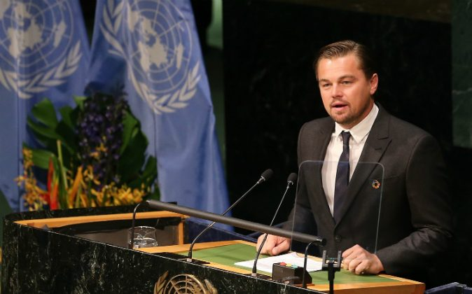 Actor/activist Leonardo DiCaprio speaks during the Paris Agreement For Climate Change Signing at United Nations on April 22, 2016 in New York City. (Jemal Countess/Getty Images)