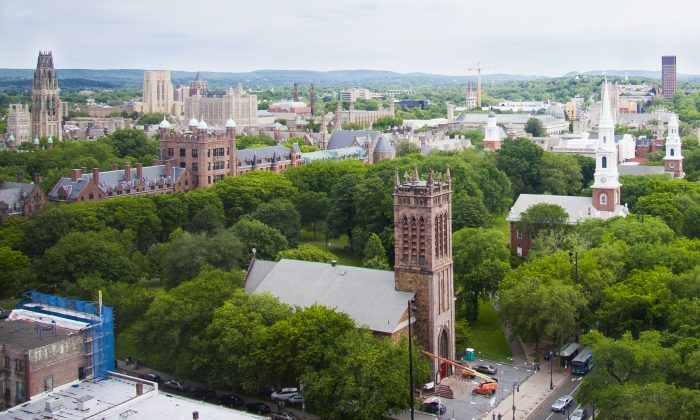 View of New Haven from the 19th floor of the Omni New Haven Hotel. (Annie Wu/Epoch Times)