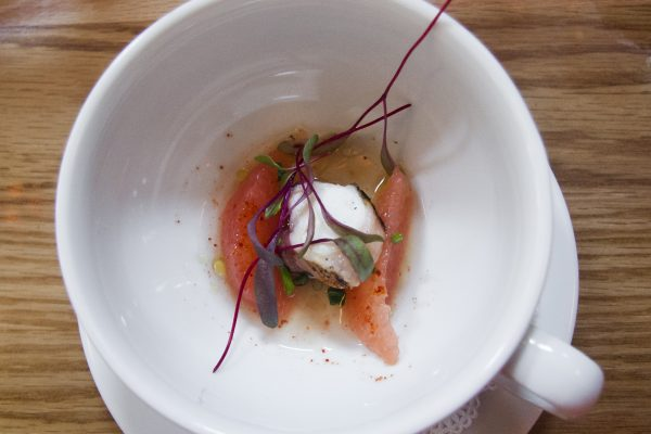 Spanish octopus with grapefruit at Atelier Florian. (Annie Wu/Epoch Times)
