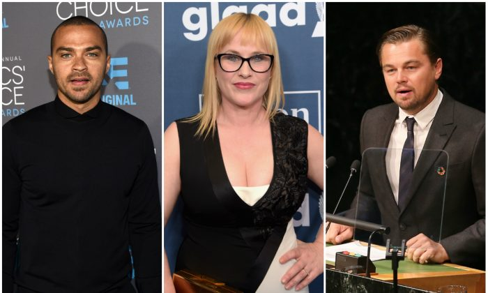 Left: Actor Jesse Williams in Los Angeles on Jan. 15, 2015. (Michael Buckner/Getty Images for BFCA); Center: Actress Patricia Arquette in Beverly Hills on April 2, 2016. (Jason Kempin/Getty Images for GLAAD); Right: Actor Leonardo DiCaprio at the United Nations in New York City on April 22, 2016. (Jemal Countess/Getty Images)