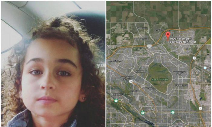 Left: Taliyah Leigh Marsman. (Calgary Police Service); Right: Location of Taliyah Leigh Marsman's home in Panorama Hills, Calgary. (Screenshot of Google Earth)