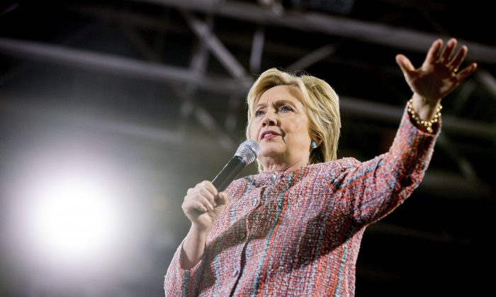 Democratic presidential candidate Hillary Clinton speaks at a rally at Northern Virginia Community College in Annandale, Thursday, July 14, 2016.  (AP Photo/Andrew Harnik)