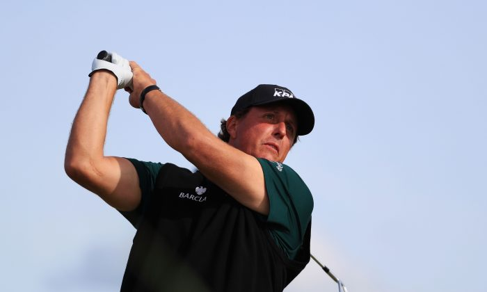 Phil Mickelson of the United States plays a shot during the first round on day one of the 145th Open Championship at Royal Troon on July 14, 2016 in Troon, Scotland. (Photo by Matthew Lewis/Getty Images)