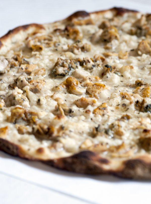 Frank Pepe's signature white clam pizza. (Diana DeLucia)