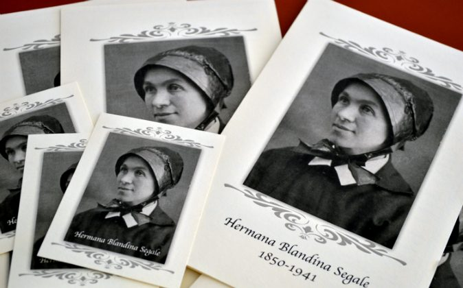 In this Aug. 25, 2015 file photo, pamphlets and prayer cards of Sister Blandina Segale sit on a table at the Catholic Center in Albuquerque, N.M. The Italian-born nun who once challenged Billy the Kid and later opened New Mexico hospitals and schools will soon be the subject of a television series. (AP Photo/Russell Contreras, File)