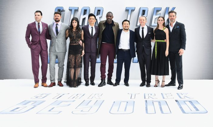 """Zachary Quinto, Karl Urban, Sofia Boutella, John Cho, Idris Elba, director Justin Lin, Simon Pegg, Lydia Wilson, and Chris Pine attend the U.K. premiere of Paramount Pictures """"Star Trek Beyond"""" at the Empire Leicester Square in London, England, on July 12. (Gareth Cattermole/Getty Images for Paramount Pictures)"""