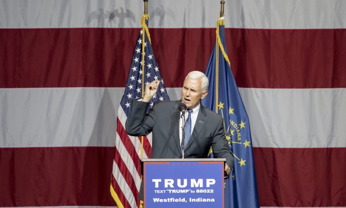 Indiana Governor Mike Pence introduces Republican presidential candidate Donald Trump at the Grand Park Events Center on July 12, 2016 in Westfield, Indiana. Trump is campaigning amid speculation he may select Indiana Gov. Mike Pence as his running mate. (Aaron P. Bernstein/Getty Images)