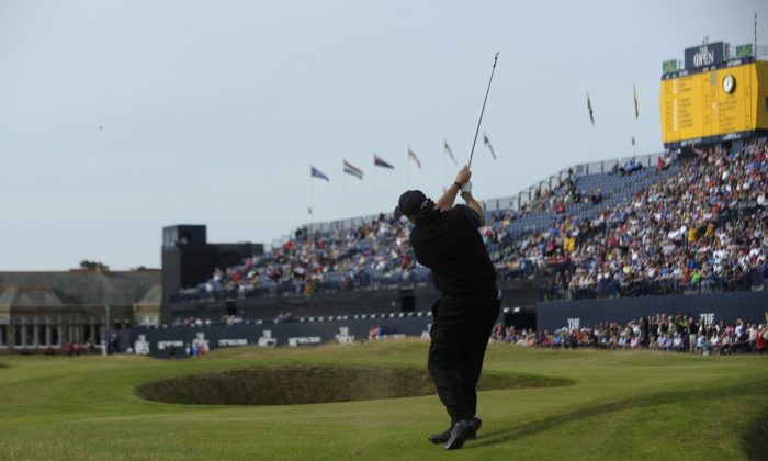 Phil Mickelson plays towards the 18th Green during his first round 63 on the opening day of the 2016 British Open Golf Championship at Royal Troon in Scotland. (Andy Buchanan/AFP/Getty Images)