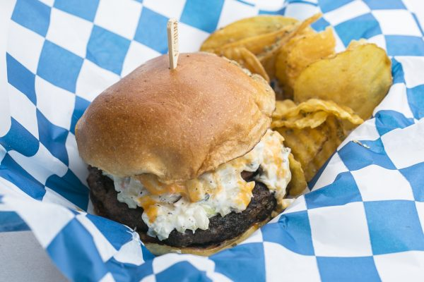 The Surf & Turf Burger with crab cake and Angus beef patty. (Samira Bouaou/Epoch Times)