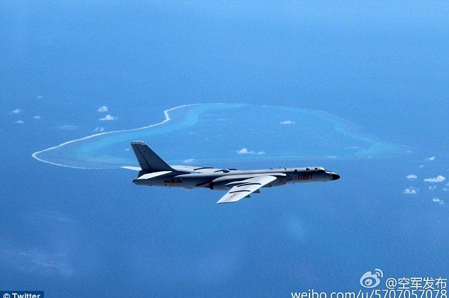 A Chinese H-6K bomber above Scarborough Shoal. (Sina Weibo)