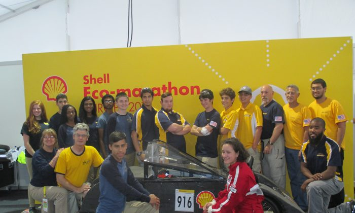 The Newburgh Free Academy Concept Vehicle Racing Team at the 2016 Shell Eco-Marathon Driver's World Championship in London, England. (Courtesy of Chris Eachus)