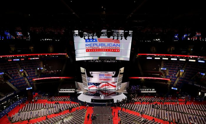 An estimated 50,000 people attended the Republican National Convention in Cleveland, to rally for Republican presidential candidate Donald Trump on July 20. (Chip Somodevilla/Getty Images)