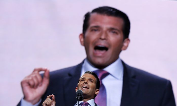 Donald Trump, Jr., son of Republican Presidential Candidate Donald Trump, speaks during the second day session of the Republican National Convention in Cleveland, Tuesday, July 19, 2016. (AP Photo/Carolyn Kaster)