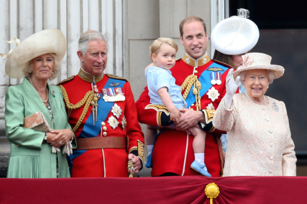(L-R) Camilla, Duchess of Cornwall, Prince Charles, Prince of Wales, Prince George of Cambridge, Prince William, Duke of Cambridge, Catherine, Duchess of Cambridge and Queen Elizabeth II watch the fly-past from the balcony of Buckingham Palace following the Trooping The Colour ceremony on June 13, 2015 in London, England. (Chris Jackson/Getty Images)