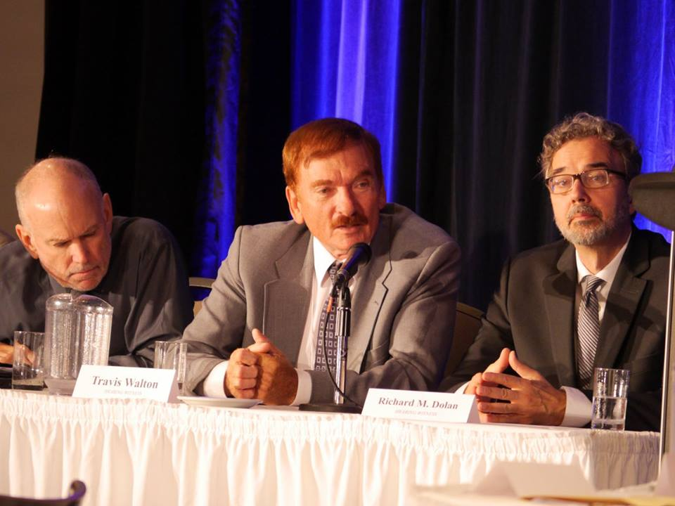 """Travis Walton, whose story of being abducted by extraterrestrials was made famous in the movie, """"Fire in the Sky,"""" speaks at a disclosure hearing in Brantford, Canada, on June 25, 2016. (Courtesy of Zland Communications)"""