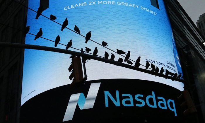 Pigeons are seen in front the Nasdaq MarketSite in New York's Times Square in New York City on June 16, 2015. (KENA BETANCUR/AFP/Getty Images)