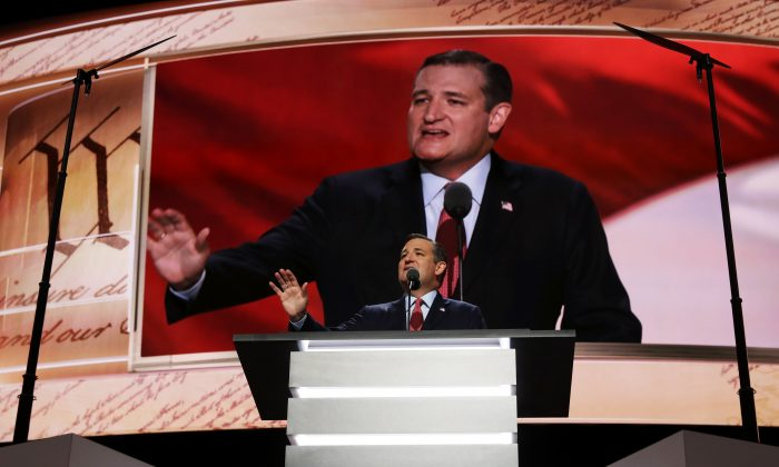 Sen. Ted Cruz (R-Tx.) on the third day of the Republican National Convention on July 20, 2016 at the Quicken Loans Arena in Cleveland, Ohio. Republican presidential candidate Donald Trump received the number of votes needed to secure the party's nomination. An estimated 50,000 people are expected in Cleveland, including hundreds of protesters and members of the media. (Chip Somodevilla/Getty Images)