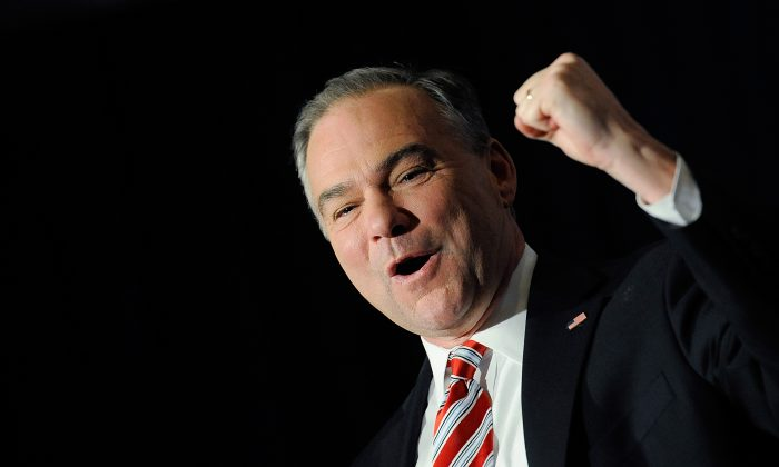 U.S. Senator-elect Tim Kaine at the Downtown Richmond Marriot after winning the Virginia U.S. Senate seat on November 6, 2012 in Richmond, Virginia. Kaine defeated former U.S. Sen. George Allen in a tight race. (Patrick McDermott/Getty Images)