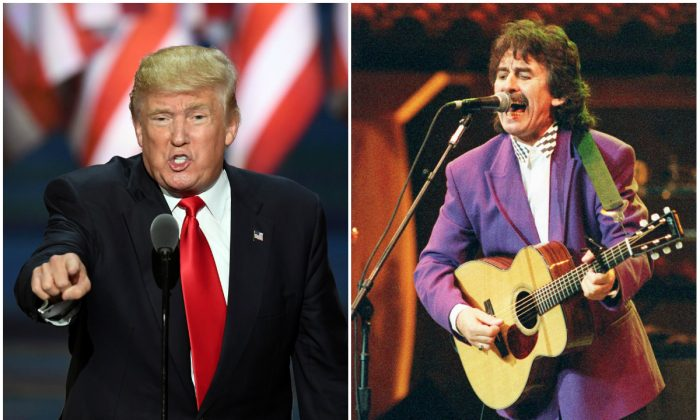 U.S. Republican presidential candidate Donald Trump speaks at the Republican National Convention on July 21, 2016, in Cleveland, Ohio. (JIM WATSON/AFP/Getty Images). George Harrison performs 'Absolutely Sweet Mary' at Madison Square Garden, Oct. 17, 1992. (MARIA BASTONE/AFP/Getty Images)