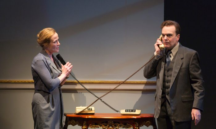 """Two Norwegians, diplomat Mona Juul (Jennifer Ehle) and her husband, socialist Terje Rod-Larson (Jefferson Mays) are responsible for beginning the negotiations which have come to called the Oslo Peace Accord. J.T. Rogers's drama """"Oslo"""" tells their story.  (T. Charles Erickson)"""