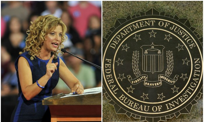 Embattled Democratic National Committee Chair Debbie Wasserman Schultz at a campaign rally at Florida International University in Miami, Florida, July 23, 2016. (GASTON DE CARDENAS/AFP/Getty Images); The FBI logo on the headquarters building in Washington, D.C. on July 5, 2016. (YURI GRIPAS/AFP/Getty Images)