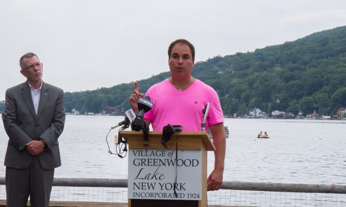Hoboken International Film Festival Chairman Kenneth Del Vecchio speaks at a press conference in Greenwood Lake, the festival's new home, on July 25, 2016. (Holly Kellum/Epoch Times)