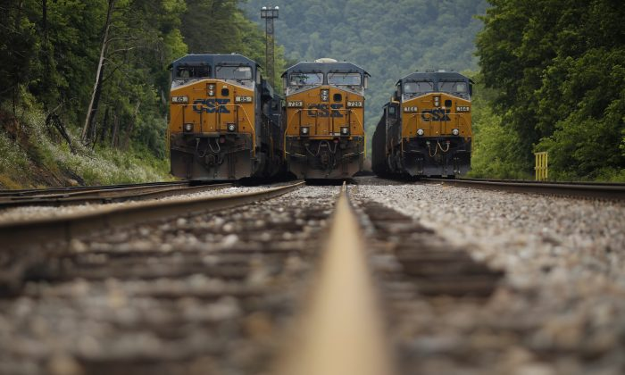 Trains carrying coal are at a rail yard in Pikeville, Ky., on  June 3, 2014.  (Luke Sharrett/Getty Images)