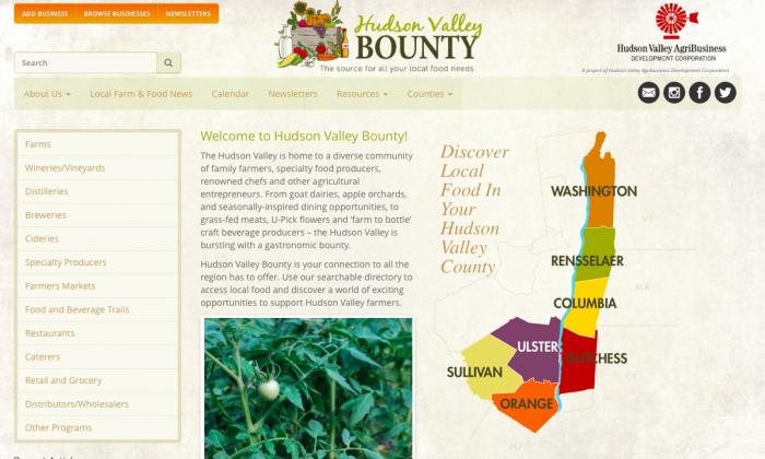 The homepage of the Hudson Valley Bounty website on July 26, 2016. (Screenshot via hudsonvalleybounty.com)