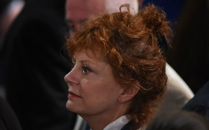 Actress Susan Sarandon looks on during Day 1 of the Democratic National Convention at the Wells Fargo Center in Philadelphia, Pennsylvania, July 25, 2016. (ROBYN BECK/AFP/Getty Images)