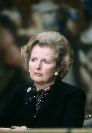 British Prime Minister Margaret Thatcher attends the 5th Franco-British summit, on September 09, 1980 in Paris. (GABRIEL DUVAL/AFP/Getty Images)