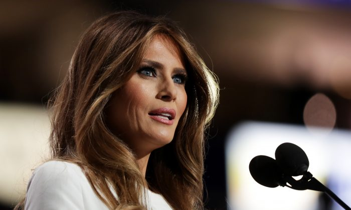 Melania Trump, wife of Republican presidential nominee Donald Trump, delivers a speech on the first day of the Republican National Convention on July 18, 2016 at the Quicken Loans Arena in Cleveland, Ohio. (Photo by Chip Somodevilla/Getty Images)