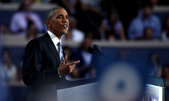 US President Barack Obama on the third day of the Democratic National Convention at the Wells Fargo Center in Philadelphia, Pennsylvania on July 27, 2016.  (Jessica Kourkounis/Getty Images)
