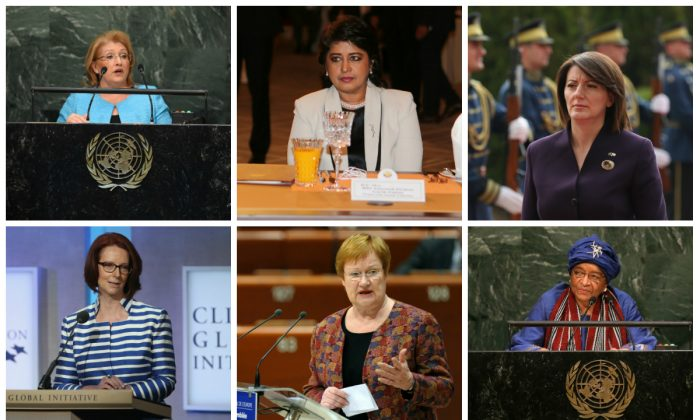Clockwise (L–R): Marie Louise Coleiro Preca, Ameenah Gurib,  Atifete Jahjaga, Julia Gillard, Tarja Halonen, and Ellen Johnson Sirleaf are some of the women leaders throughout the world. (TIMOTHY A. CLARY/AFP/Getty Images; KARIM JAAFAR/AFP/Getty Images; Sean Gallup/Getty Images; John Moore/Getty Images; FREDERICK FLORIN/AFP/Getty Images; John Moore/Getty Images)