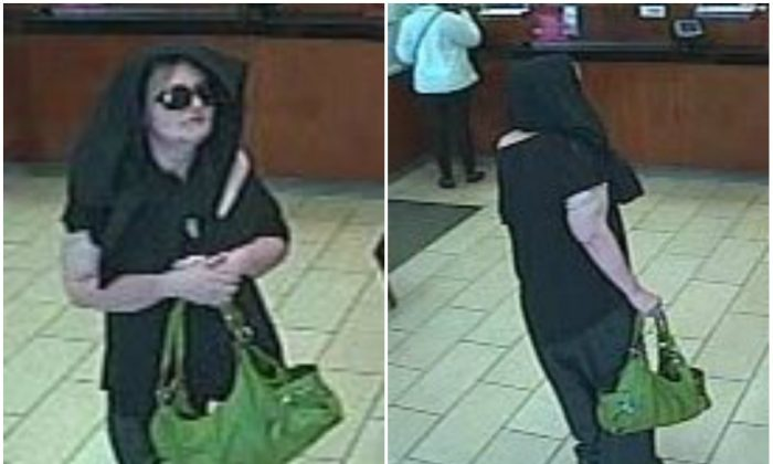 Female bank robber, allegedly Josephine Sari, 42, of Chesterfield, at a Wells Fargo Bank in Willingboro Township, NJ, on May 13, 2016. (Willingboro Township Police Department)