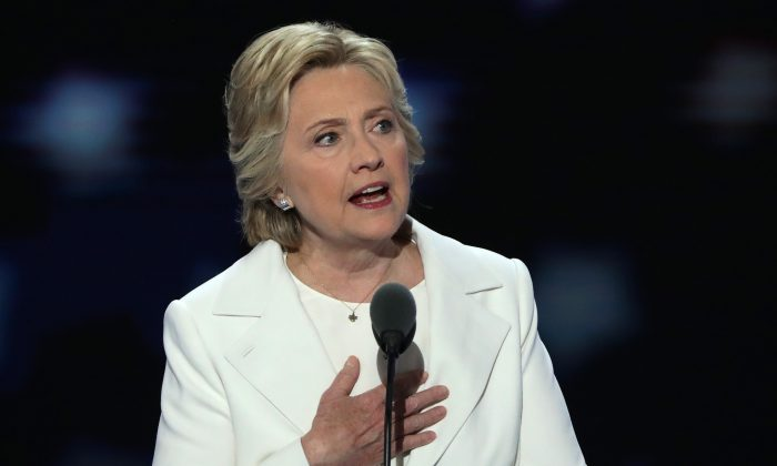 Democratic presidential candidate Hillary Clinton delivers remarks during the fourth day of the Democratic National Convention at the Wells Fargo Center, July 28, 2016 in Philadelphia, Pennsylvania. (Alex Wong/Getty Images)