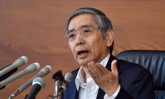 Bank of Japan (BOJ) Governor Haruhiko Kuroda speaks during a press conference at the BOJ headquarters in Tokyo on July 29, 2016. (Kazuhiro Nogi/AFP/Getty Images)