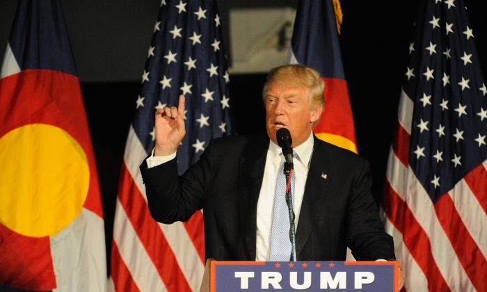 Republican President candidate Donald Trump addresses supporters at the Wings Over the Rockies Air & Space Museum in Denver, Co., on July 29, 2016. (Jason Connolly/AFP/Getty Images)