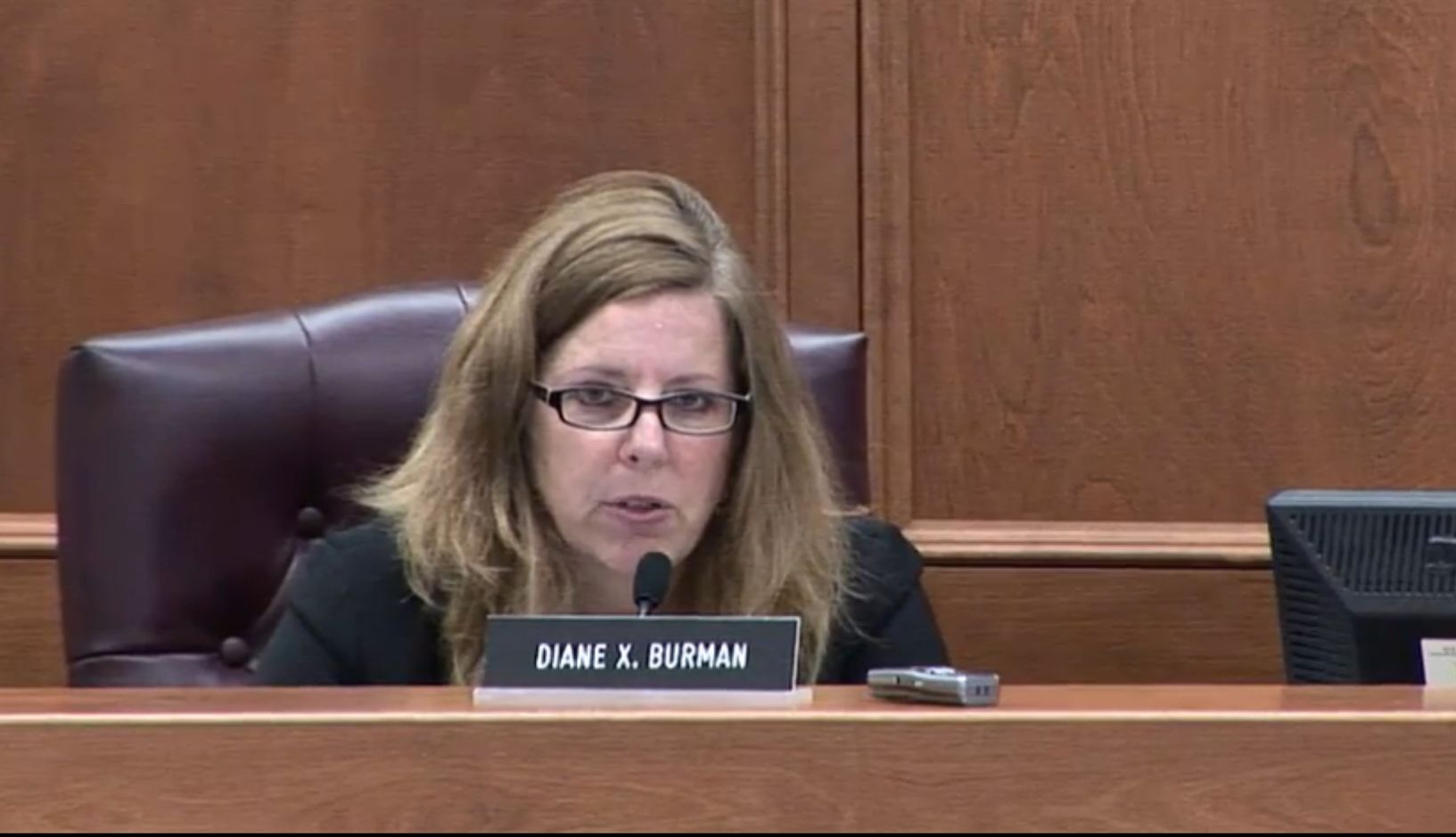 New York Public Service Commissioner Diane X. Burman at a hearing to approve Governor Andrew Cuomo's clean energy plan on Aug. 1, 2016. (Screenshot/Livestream on DPS.NY.gov)