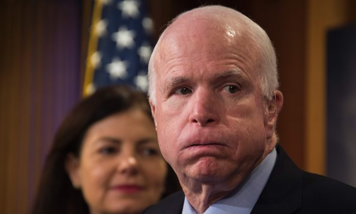 US Senator John McCain (R), R-Arizona in Capitol Hill on February 23. (WATSON/AFP/Getty Images)