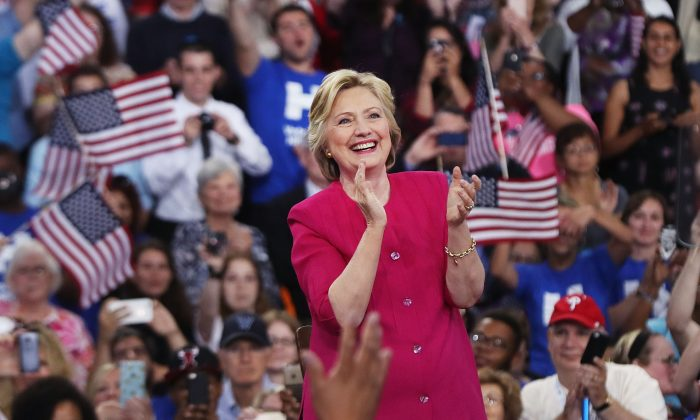 Democratic presidential candidate Hillary Clinton holds a rally a day after accepting the Democratic Party's nomination for president at Temple University on July 29, 2016 in Philadelphia, Pennsylvania. The Democrat is leading in the polls after the DNC. (Spencer Platt/Getty Images)
