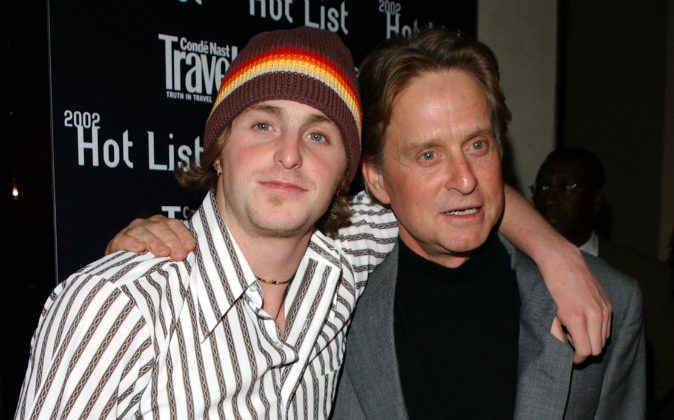 Actor Michael Douglas (R) and his son Cameron Douglas arrive at the Conde Nast Traveler Hot List party at the W Hotel May 1, 2002 in New York City. (Mark Mainz/Getty Images)