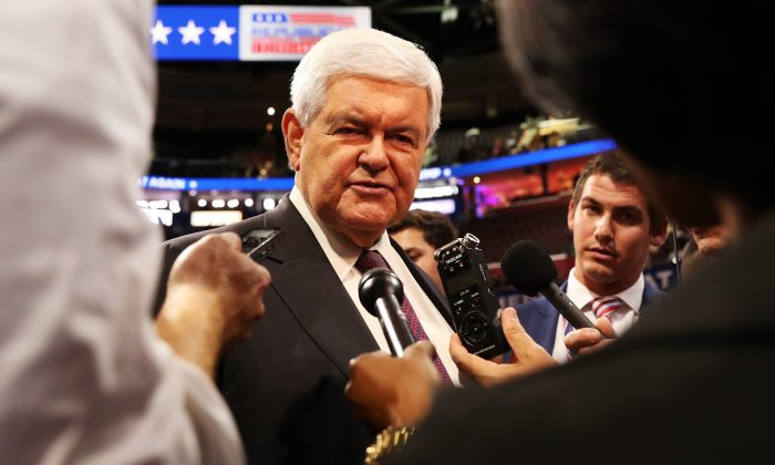 Former Speaker of the House Newt Gingrich (C) prior to the start of the fourth day of the Republican National Convention on July 21, 2016 at the Quicken Loans Arena in Cleveland, Ohio. (John Moore/Getty Images)