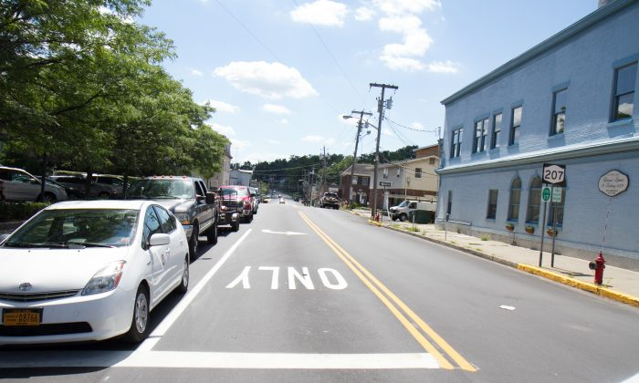 Greenwich Ave. in the Village of Goshen, which turns into Route 207, on Aug. 4, 2016 after work that started in April was completed. (Holly Kellum/Epoch Times)