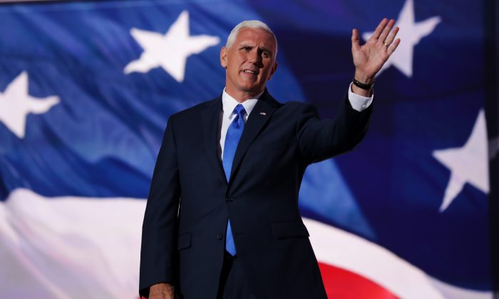 Republican Vice Presidential candidate Mike Pence on the third day of the Republican National Convention on July 20, 2016 at the Quicken Loans Arena in Cleveland, Ohio. Republican presidential candidate Donald Trump received the number of votes needed to secure the party's nomination. An estimated 50,000 people are expected in Cleveland, including hundreds of protesters and members of the media. (Chip Somodevilla/Getty Images)